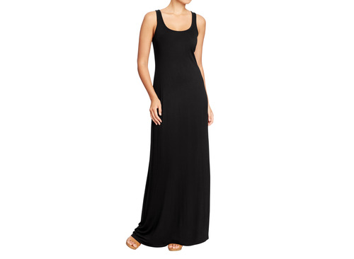 This product image released by Old Navy shows a black maxi dress. Many stores are recognizing that shoppers like to purchase their summer clothing when the weather is warm enough for them to wear it. That translates to a later, more gradual rollout of summer clothing as well as staggered and later-than-usual sales. (AP Photo/Old Navy)