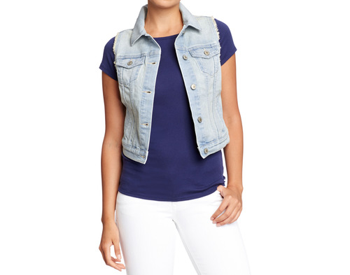 This product image released by Old Navy shows a denim vest. Many stores are recognizing that shoppers like to purchase their summer clothing when the weather is warm enough for them to wear it. That translates to a later, more gradual rollout of summer clothing as well as staggered and later-than-usual sales. (AP Photo/Old Navy)
