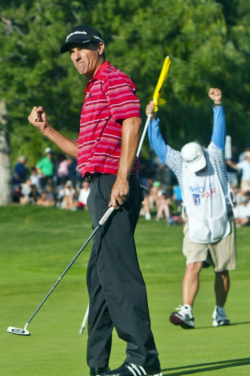 Chris Detrick  |  The Salt Lake Tribune Steven Alker celebrates after winning the Web.com Tour's Utah Championship at Willow Creek Country Club Sunday July 14, 2013.