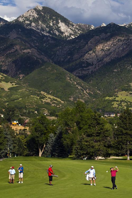 Chris Detrick  |  The Salt Lake Tribune Steven Alker hits the ball on the 17th hole during the Web.com Tour's Utah Championship at Willow Creek Country Club Sunday July 14, 2013. Alker won the championship.