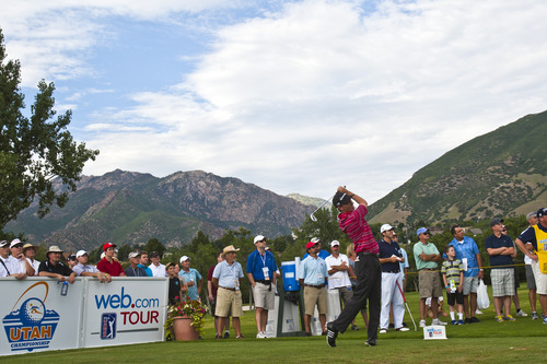Chris Detrick  |  The Salt Lake Tribune Steven Alker tees off on the 18th hole during the Web.com Tour's Utah Championship at Willow Creek Country Club Sunday July 14, 2013. Alker won the championship.
