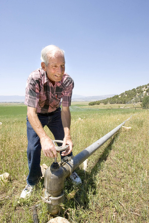 Paul Fraughton  |  The Salt Lake Tribune Mt. Pleasant farmer Ken Palmer, a member of the Sanpete Water Conservancy District, turns the valve on a water line to one of his fields of alfalfa. Wednesday, July 10, 2013. A team of water experts assembled by Gov. Gary Herbert is touring the state for the next few weeks, hosting eight town-hall meetings to gather public input for a 50-year water strategy.