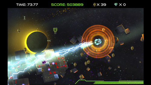 """A screenshot from the new video game, """"DubWars,"""" developed by five Utah Valley University students. """"DubWars"""" is a single-player overhead shooting game in which the player controls a neon-colored ship and shoots tiny robots that spark from a circuit board. Courtesy image"""
