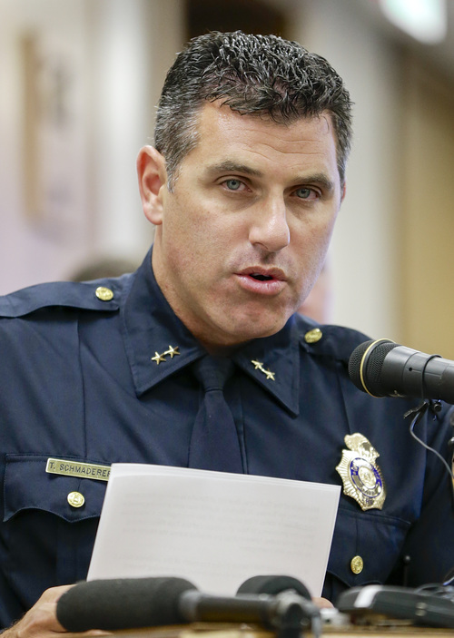 Omaha Police Chief Todd Schmaderer speaks at a news conference at police headquarters in Omaha, Neb., Monday, July 15, 2013. Chief Schmaderer said 40-year-old Dr. Anthony Garcia was arrested Monday, July 15, 2013, in Illinois. Garcia has been linked to both the May 2013 Omaha slayings of 65-year-old Roger Brumback and 65-year-old Mary Brumback and the 2008 stabbing deaths of an 11-year-old Thomas Hunter and his family housekeeper, 57-year-old Shirlee Sherman. Schmaderer says Brumback and Hunter fired Garcia in 2001 when he was a pathology resident at Creighton Medical School for erratic behavior. (AP Photo/Nati Harnik)