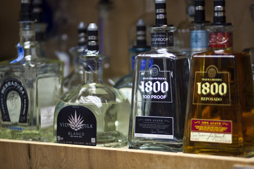 Chris Detrick  |  The Salt Lake Tribune One-hundred percent agave premium tequilas for sale at Taqueria 27 in Salt Lake City Tuesday July 16, 2013.