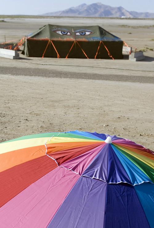 Rick Egan  | The Salt Lake Tribune   A tent with eyes at the Element 11 Arts Festival at Bonneville Seabase, July 12, 2013.