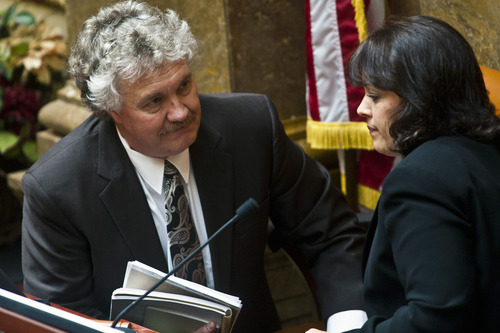 Chris Detrick     The Salt Lake Tribune House Speaker Becky Lockhart, R-Provo, talks with Legislative General Counsel John Fellows during a special session in the House of Representatives at the Utah State Capitol Wednesday July 17, 2013.