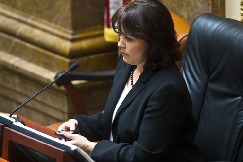 Chris Detrick     The Salt Lake Tribune House Speaker Becky Lockhart, R-Provo, listens during a special session in the House of Representatives at the Utah State Capitol Wednesday July 17, 2013.