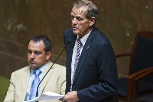 Chris Detrick  |  The Salt Lake Tribune House Majority Leader Brad Dee, R-Ogden, talks during a special session in the House of Representatives at the Utah State Capitol Wednesday July 17, 2013.