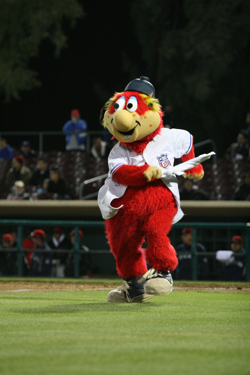 Photo courtesy of Inland Empire 66ers  Bernie, mascot of the Inland Empire 66ers, a minor league affiliate of the Los Angeles Angels.