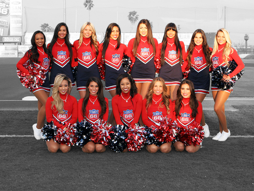 Photo courtesy of Inland Empire 66ers  The Inland Empire 66ers Dance Team. The 66ers are a minor league affiliate of the Los Angeles Angels.