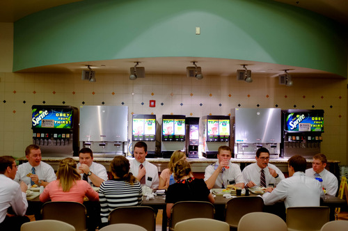 Trent Nelson  |  The Salt Lake Tribune Missionaries eat in the cafeteria of the LDS Missionary Training Center in Provo Tuesday June 18, 2013. They can choose among a wide assortment of meals, geared towards different tastes and diets, including vegan and gluten-free.