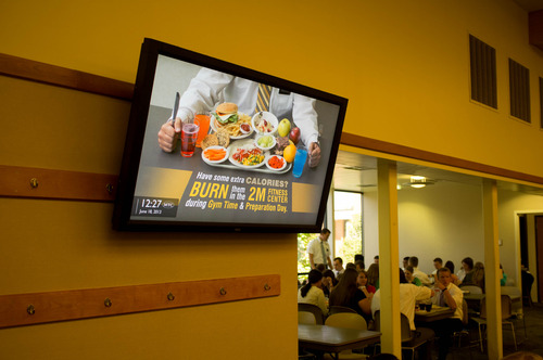 Trent Nelson  |  The Salt Lake Tribune A video screen offers health information in the cafeteria of the LDS Missionary Training Center in Provo Tuesday June 18, 2013.