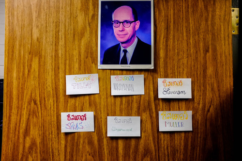 Trent Nelson  |  The Salt Lake Tribune Name tags of sister missionaries under a portrait of Henry B. Eyring on women's dorm room at the LDS Missionary Training Center in Provo Tuesday June 18, 2013.