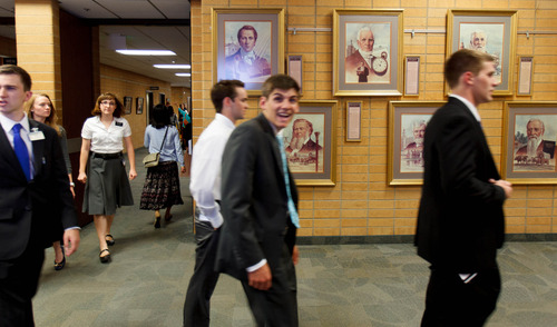 Trent Nelson  |  The Salt Lake Tribune A missionary smiles for the camera at the LDS Missionary Training Center in Provo Tuesday June 18, 2013.