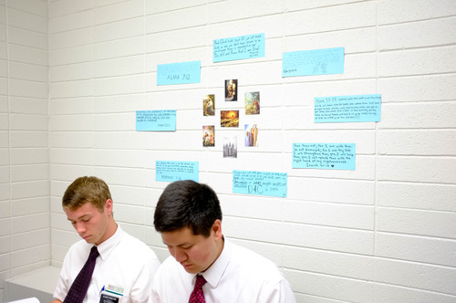 Trent Nelson  |  The Salt Lake Tribune Missionaries Aaron Proctor and Benjamin Black in a Thai language class at the LDS Missionary Training Center in Provo Tuesday June 18, 2013. Elder Black is from Seattle and his mother is a Mormon Thai convert, but he did not learn Thai in his home and was completely surprised to get a mission call to his mother's homeland.