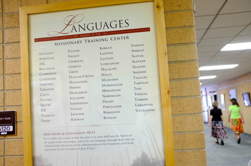 Trent Nelson  |  The Salt Lake Tribune A list of the 55 languages taught at the LDS Missionary Training Center in Provo, Tuesday June 18, 2013. 31 of the 55 languages taught there require 9 weeks of training. 26 of the 31 are Asian or Eastern Bloc languages.