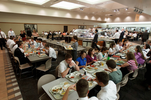 Trent Nelson  |  The Salt Lake Tribune Missionaries eat lunch at staggered times in the 800-seat cafeteria at the LDS Missionary Training Center in Provo Tuesday June 18, 2013.