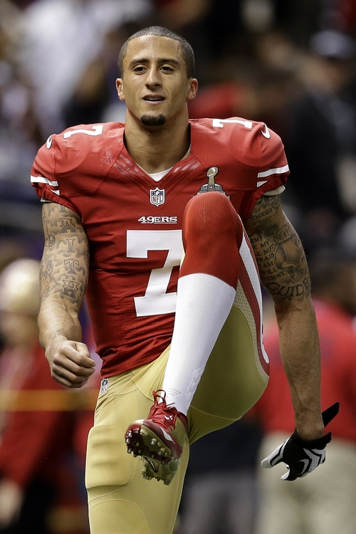 San Francisco 49ers quarterback Colin Kaepernick warms up before their NFL Super Bowl XLVII football game against the Baltimore Ravens Sunday, Feb. 3, 2013, in New Orleans. (AP Photo/Patrick Semansky)