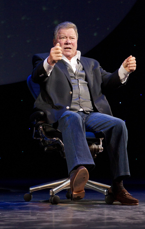 """William Shatner performs in """"Shatner's World: We Just Live In It"""" on Broadway at the Music Box Theatre. Courtesy Joan Marcus"""