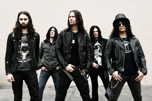 Slash feat. Myles Kennedy & The Conspirators will play Park City Live on July 24. From left: rhythm guitarist Frank Sidoris, drummer Brent Fitz, lead singer Myles Kennedy, bassist Todd Kerns, lead guitarist Slash.