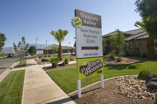 Rick Egan    The Salt Lake Tribune   Model homes in the Treasure Valley Subdivision in Washington, Utah, Friday, July 19, 2013.