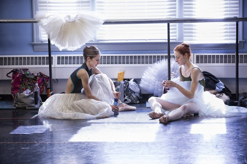 Allison DeBona and Christiana Bennet prepare for another Ballet West rehearsal. Courtesy photo