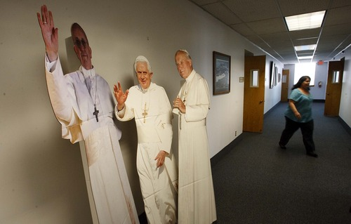 Leah Hogsten  |  The Salt Lake Tribune For Utah kids who can't attend World Youth Day in Rio, the Salt Lake City Catholic Diocese is hosting its own Youth Day with cardboard cutouts of three popes, which now inhabit the halls of the diocese, Thursday, July 18, 2013. World Youth Day is an international gathering of Catholic Youth that Pope Francis will attend in Rio de Janeiro, Brazil.