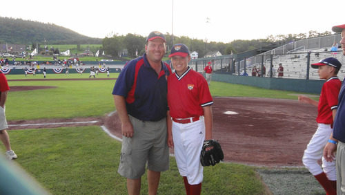 Courtesy photo. Guy Fowlks and his son Ethan, who is autistic but is a natural on the baseball diamond. Ethan led his Salt Lake Sidewinders team to a tournament title in Cooperstown, N.Y.