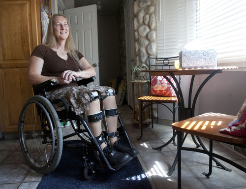 Steve Griffin | The Salt Lake Tribune  Chloe Jennings-White at her West Bountiful home Friday July 19, 2013. Jennings-White has a neurological condition called body integrity identity disorder (BIID) in which she feels she would be more comfortable paralyzed.