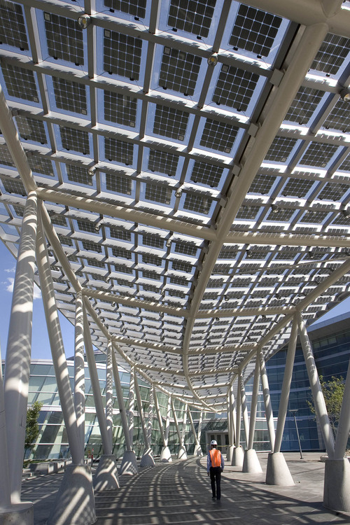 Paul Fraughton  |   Salt Lake Tribune    The main walkway into the public safety building is covered with solar panels.                           Monday, July 1, 2013