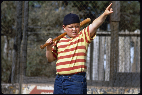 "Courtesy 20th Century Fox Ham (Patrick Renna) calls his shot, in a scene from the 1993 baseball comedy ""The Sandlot."""