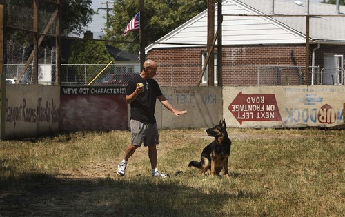 "Leah Hogsten  |  The Salt Lake Tribune The Sandlot movie screenwriter and director David M. Evans plays fetch with his own beast, a 3-year-old German Shepherd named Maverick, on the replicated set of ""The Sandlot"" on the original site in the neighborhood of Glendale, Utah where the movie was filmed, along 1386 Glenrose Ave., Thursday, July 18, 2013."