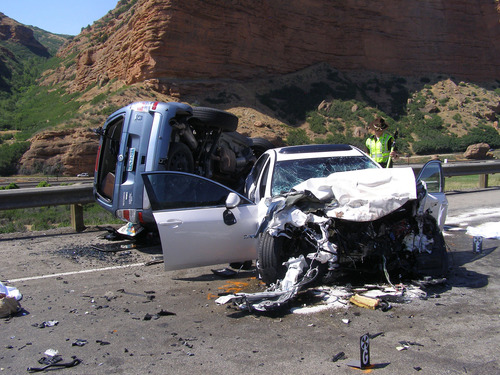Two women were killed in a head-on collision on Interstate 80 Saturday afternoon. Utah Highway Patrol says a 29-year-old driver in the eastbound lane crossed into the westbound lane for an unknown reason and crashed into a 65-year-old driver. Courtesy Utah Highway Patrol