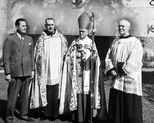 Salt Lake Tribune archive  Church of the Immaculate Conception, Provo, Utah. (l to r) John F. Maloney, Very Rev. Gregory Wooler, <Most Rev. Duane G. Hint and Rev. Henry Stendebach.