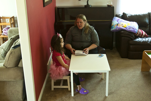 Chris Detrick  |  The Salt Lake Tribune Frustrated by the quality of applied behavioral therapy services available to her 4-year-old autistic daughter, Lucy, Angela Vasquez has resorted to doing therapy on her own.