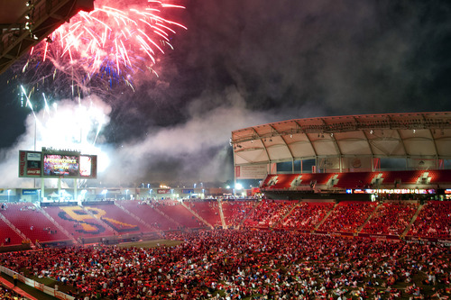 Michael Mangum     Special to the Tribune  Fans gather on the field to watch a fireworks display to celebrate the Fourth of July after the conclusion of the MLS match featuring Real Salt Lake and the Seattle Sounders at Rio Tinto Stadium in Sandy, UT on Wednesday, July 4, 2012. The game ended in a 0-0 draw.