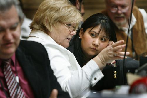 LEGISLATURE Horizonte Alternative School student Maria Hernandez listens to Representative Susan Duckworth (D: Magna) describe the legislative process in the Utah House of Representatives, 3/6/2009. Scott Sommerdorf/The Salt Lake Tribune