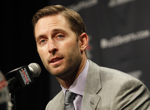Texas Tech football coach Kliff Kingsbury answers questions from the media during the Big 12 Conference Football Media Days Monday, July 22, 2013 in Dallas.  (AP Photo/Tim Sharp)