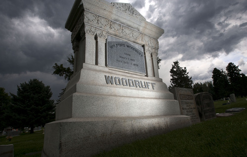 Steve Griffin | The Salt Lake Tribune  Monument at the grave of Wilford Woodruff at the Salt Lake City Cemetery Tuesday July 16, 2013.
