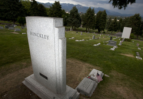 Steve Griffin | The Salt Lake Tribune  Monument at the grave of Gordon B. Hinckley at the Salt Lake City Cemetery Tuesday July 16, 2013.