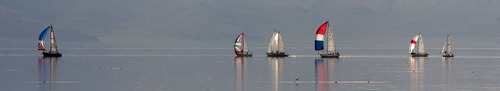 Steve Griffin | The Salt Lake Tribune   Members of the Great Salt Lake Yacht Club try to find the wind during the Wednesday night Regatta at the Great Salt Lake Wednesday July 17, 2013.