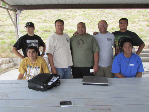 Rocky Saluona, Orem; Billy Tenney, Orem; Sim Tiutia, Orem; Mote Siufanua, Orem; Jacob Fitisemanu, Taylorsville; Alema Sagapolu, Taylorsville, and Jay Matina, Taylorsville, celebrated their heritage and earned or taught Boy Scout merit badges at Iosepa facility in Skull Valley. (Tom Wharton photo)