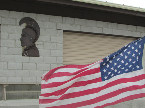 Flag decorates an area built to house camps and events at Iosepa. (Tom Wharton photo)