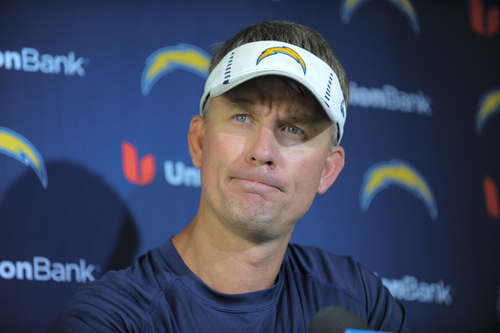 San Diego Chargers head coach Mike McCoy answers questions from the media during a news conference held after mini-camp held at the Chargers' facility Tuesday, June 11, 2013, in San Diego. (AP Photo/Denis Poroy)