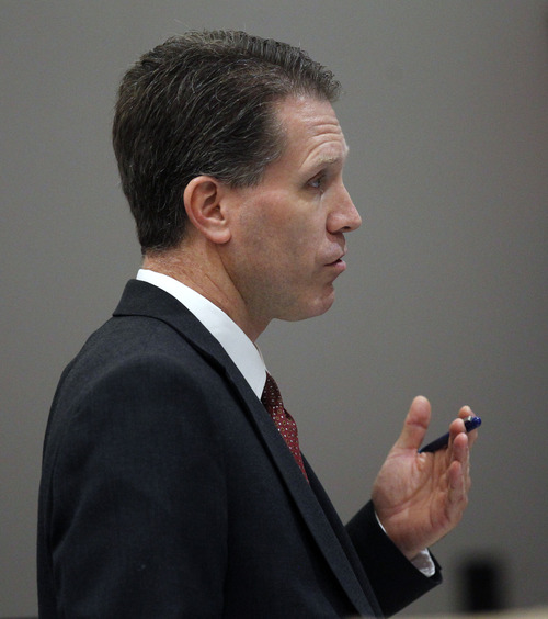 Al Hartmann  |  The Salt Lake Tribune David Cole, Davis County prosecuter argues for allowing the death penalty for Nathan Sloop in Judge Glen Dawson's courtroom in Farmington Thursday July 25.  Nathan Sloop is to stand trial for allegedly murdering his 4-year-old stepson, Ethan Stacy.