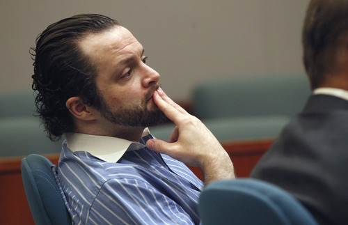 Al Hartmann  |  The Salt Lake Tribune Nathan Sloop listens to oral arguments for the death penalty in Judge Glen Dawson's courtroom in Farmington Thursday July 25.  Nathan Sloop is to stand trial for allegedly murdering his 4-year-old stepson, Ethan Stacy.