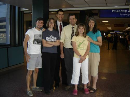 Courtesy Ward Family Bountiful resident Stephen Ward, 18, center, was injured in a train derailment in Spain that killed at least 80 people. Ward is pictured here with his father, Ray, his mother, Beverly, his two younger sisters and an exchange student who was living with the family. Ward was serving a mission for The Church of Jesus Christ of Latter-day Saints and was on his way to his first missionary assignment when the train derailed Wednesday.