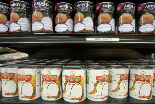 Steve Griffin | The Salt Lake Tribune   Can goods at the new Qaderi Sweetz N. Spicez grocery store in Salt Lake City, Utah Tuesday July 23, 2013. The store offers Indian and Southeast Asian foods.