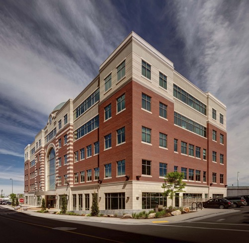 A privately owned international real estate investment firm has acquired four office buildings at The Gateway near downtown Salt Lake City. Courtesy The Boyer Company